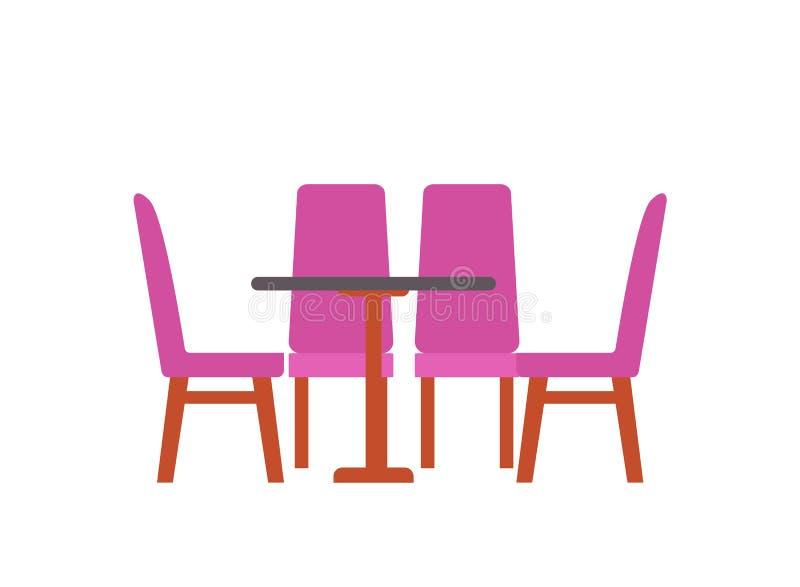 Tabela com as quatro cadeiras isoladas Mobília do vetor ilustração stock