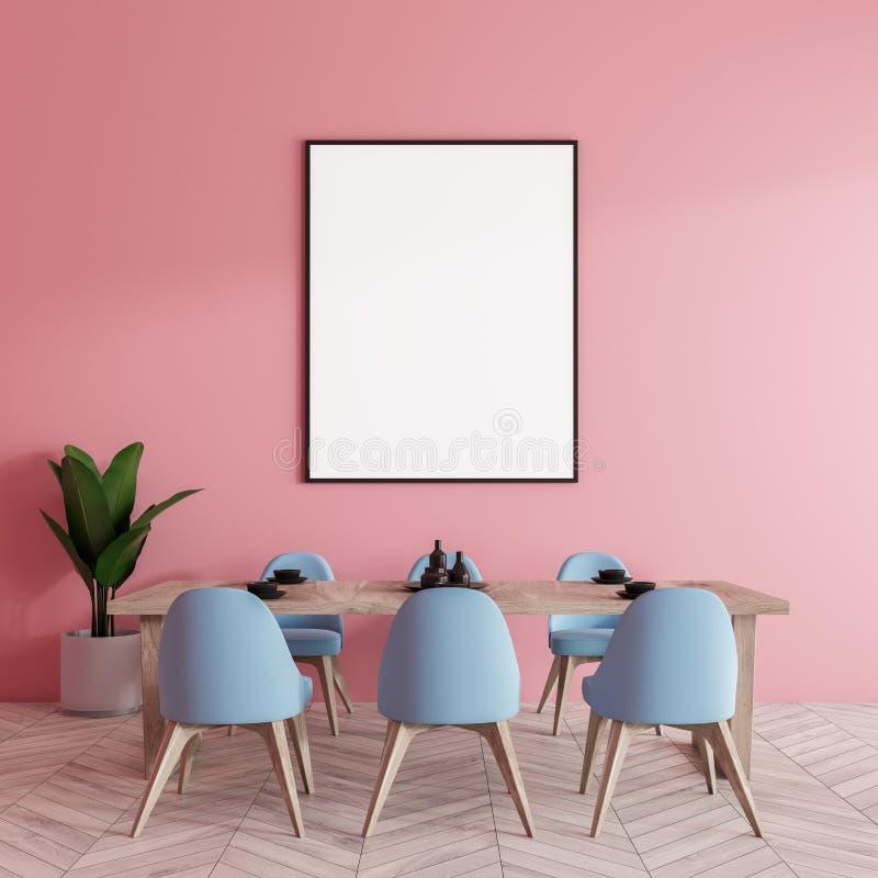 Tabela com cadeiras azuis, cartaz da sala de jantar ilustração stock