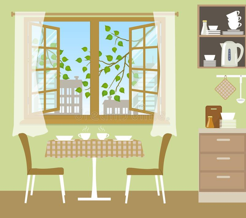 Tabela com cadeiras perto de uma janela aberta Fragmento do interior da cozinha em uma cor verde ilustração do vetor