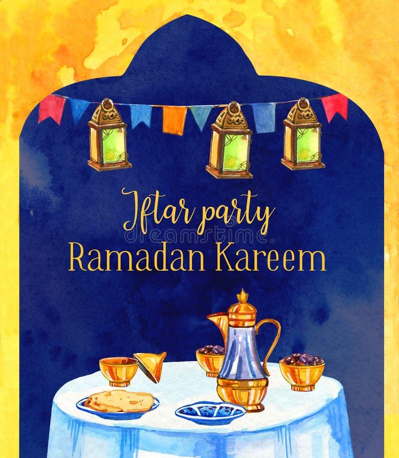Tabela com decorações, da celebração do partido de Ramadan Kareem Iftar ilustração tirada mão da aquarela ilustração do vetor