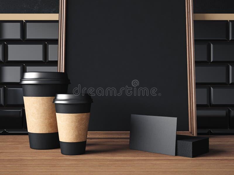 Tabela com elementos e o cartaz pretos rendição 3d fotografia de stock royalty free