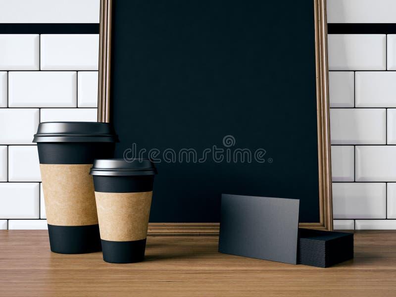 Tabela com elementos e o cartaz vazios rendição 3d foto de stock