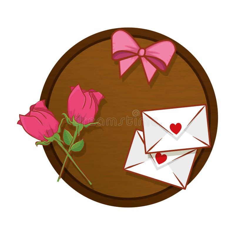 Tabela com envelopes e rosas ilustração do vetor