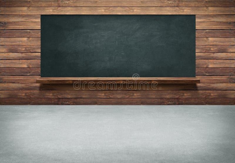 Tabela com fundo de madeira da parede e do quadro-negro imagem de stock