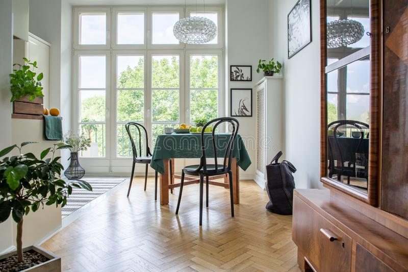 Tabela com pano, as cadeiras e close-up verdes de um armário em um interior retro da sala de jantar fotos de stock