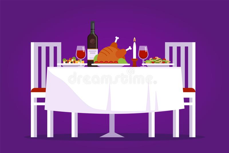 A tabela com pratos saborosos e duas cadeiras vector a ilustração lisa Jantar romântico no conceito do restaurante no roxo ilustração do vetor