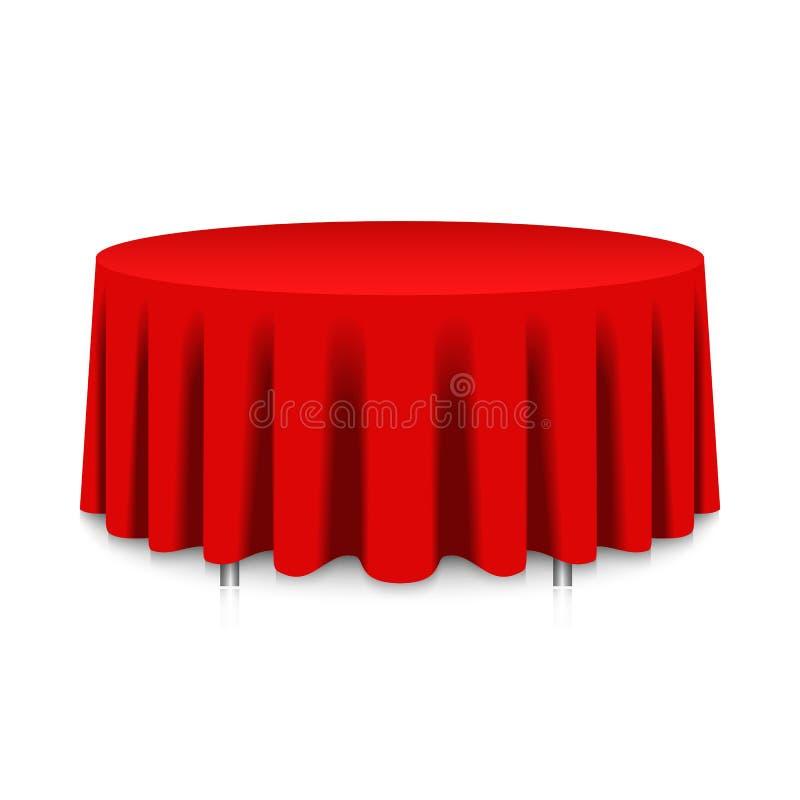 Tabela com toalha de mesa vermelha ilustração stock