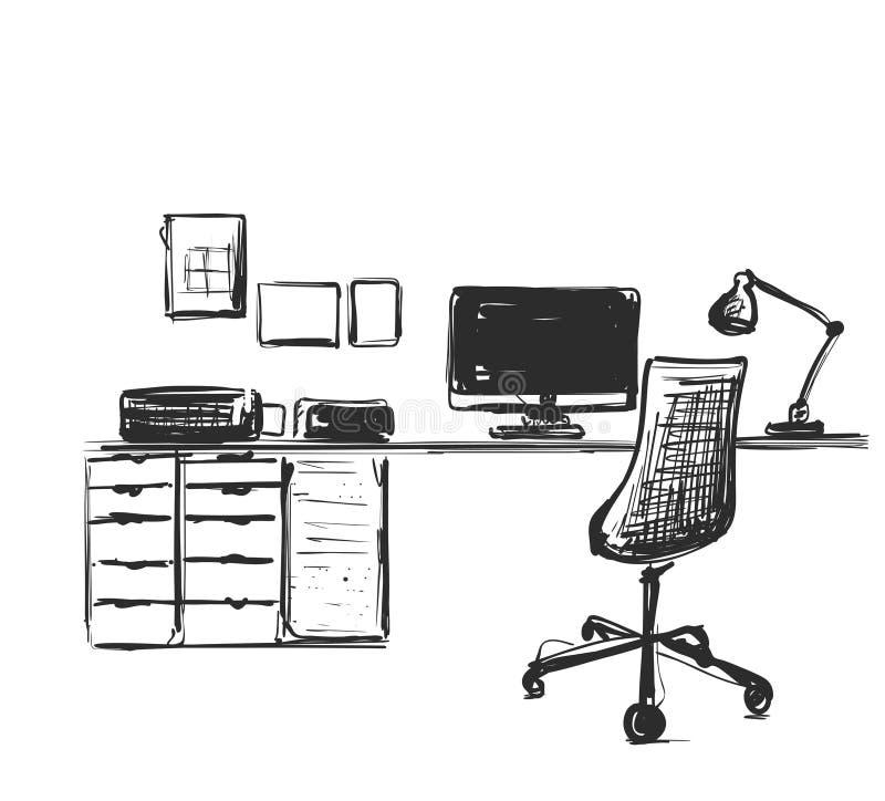 A tabela com um computador ou o local de trabalho tirado à mão rabiscam o estilo ilustração stock