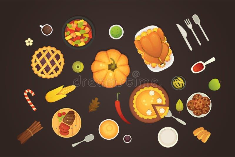 Tabela da opinião superior do menu do prato da ação de graças com desenhos animados roasted do vetor do peru Abóbora com torta e  ilustração royalty free