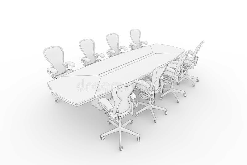 Tabela da sala de reuniões ilustração do vetor