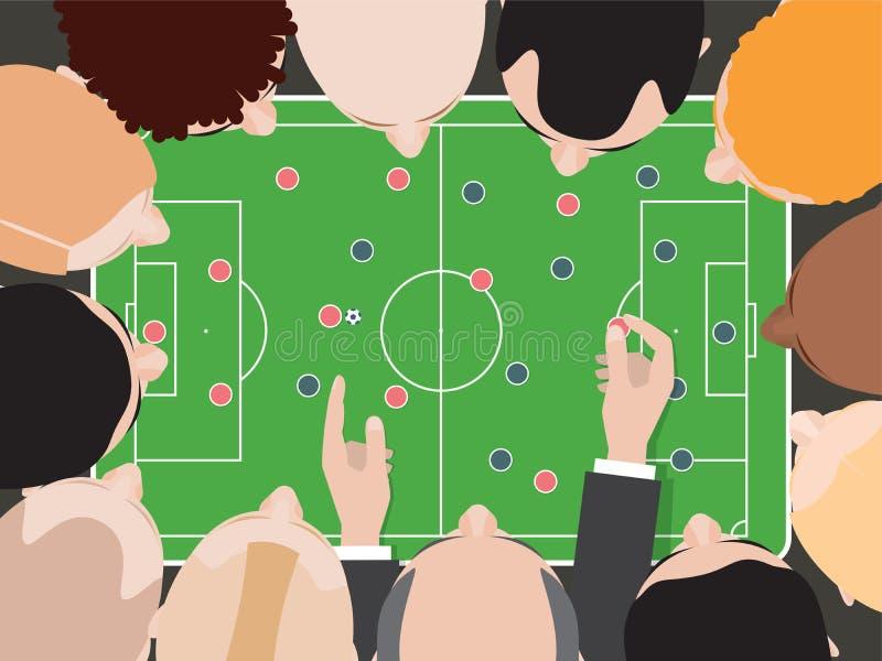 Tabela da tática do futebol/futebol Treinador With Team Players Top View Cabeças em torno da tabela Esquema tático do jogo ilustração do vetor