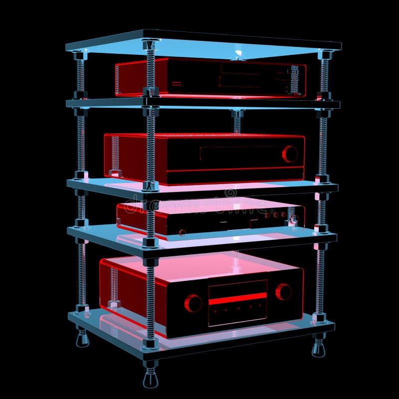 Tabela de alta fidelidade com equipamento (transparentes azuis do raio X 3D) ilustração do vetor