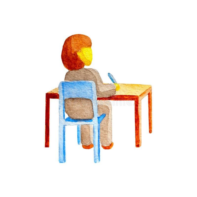 Tabela de assento da mesa do estudante caucasiano da estudante em uma cadeira e vista na parte superior isolada no fundo branco n fotografia de stock
