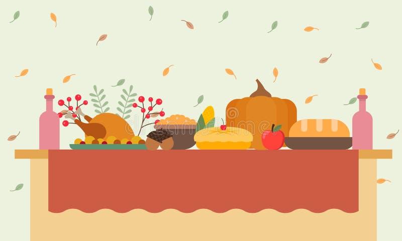 Tabela de banquete grande com bebidas e fruto comer ilustração stock