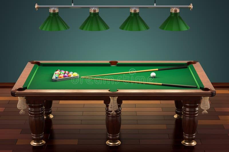 Tabela de bilhar com bolas e sugestão na sala, rendição 3D ilustração do vetor