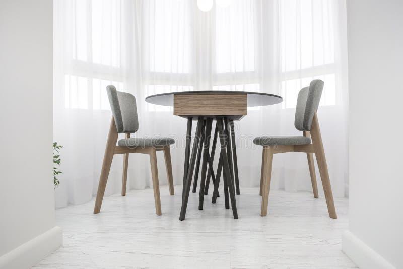 Tabela de ch? do jantar com as cadeiras no balc?o no s?t?o interior brilhante fotos de stock