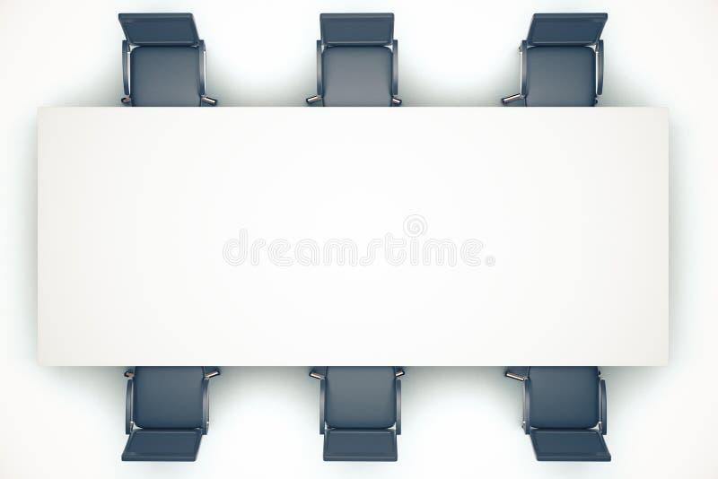 Tabela de conferência branca com cadeiras ilustração stock