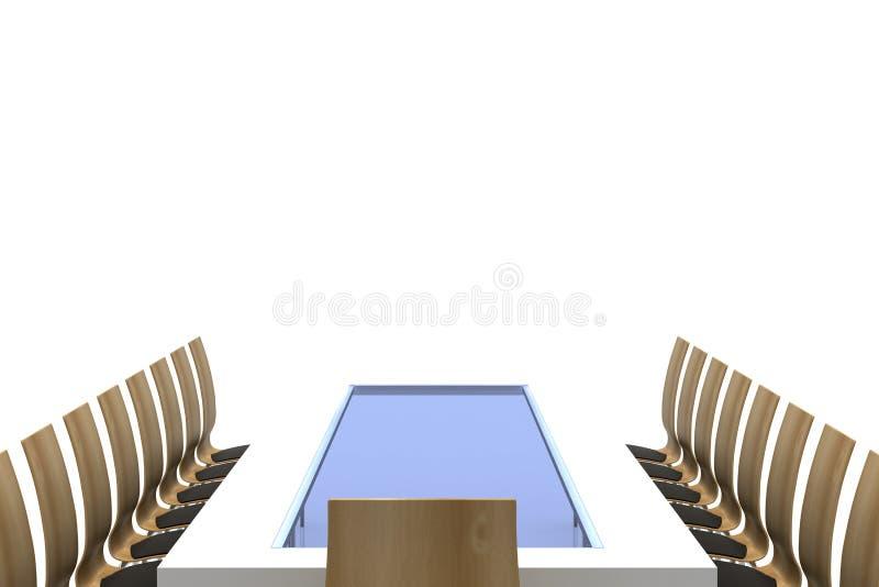 Tabela de conferência com cadeiras ilustração royalty free
