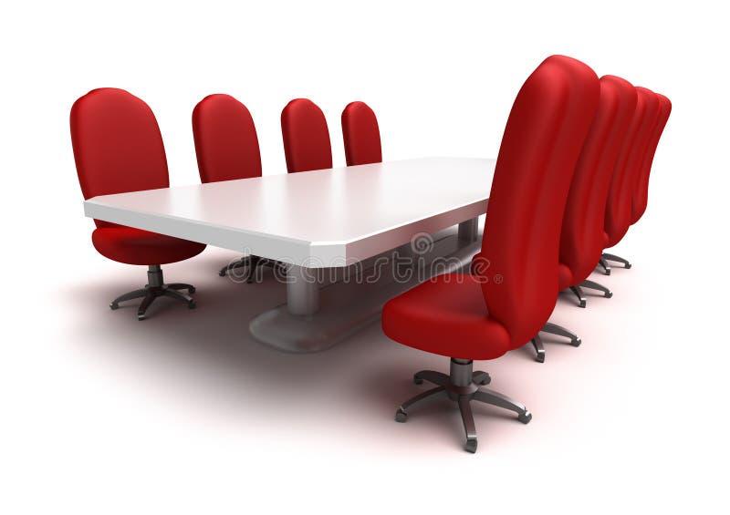 Tabela de conferência e cadeiras vermelhas ilustração stock