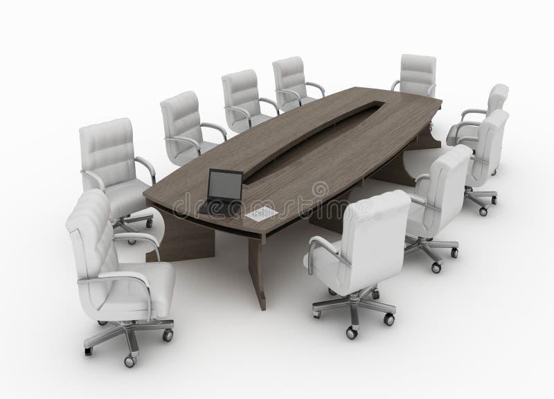 Tabela de conferência moderna com as cadeiras isoladas ilustração do vetor