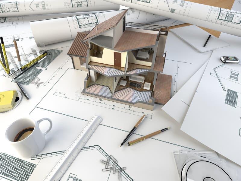 Tabela de desenho do arquiteto com modelo da seção ilustração stock