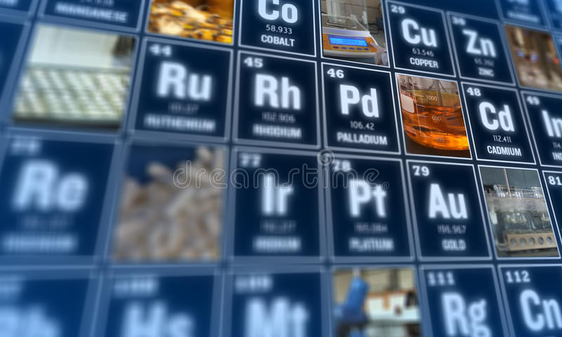 Tabela de elementos periódica e de ferramentas do laboratório Conceito da ciência imagens de stock royalty free