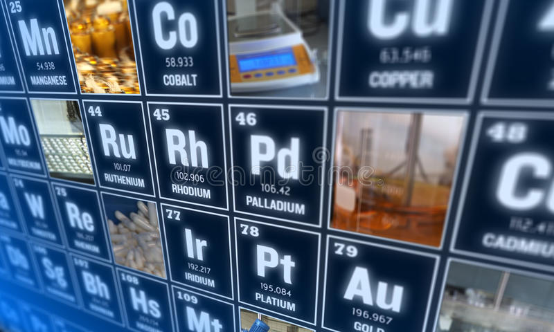 Tabela de elementos periódica e de ferramentas do laboratório Conceito da ciência imagens de stock