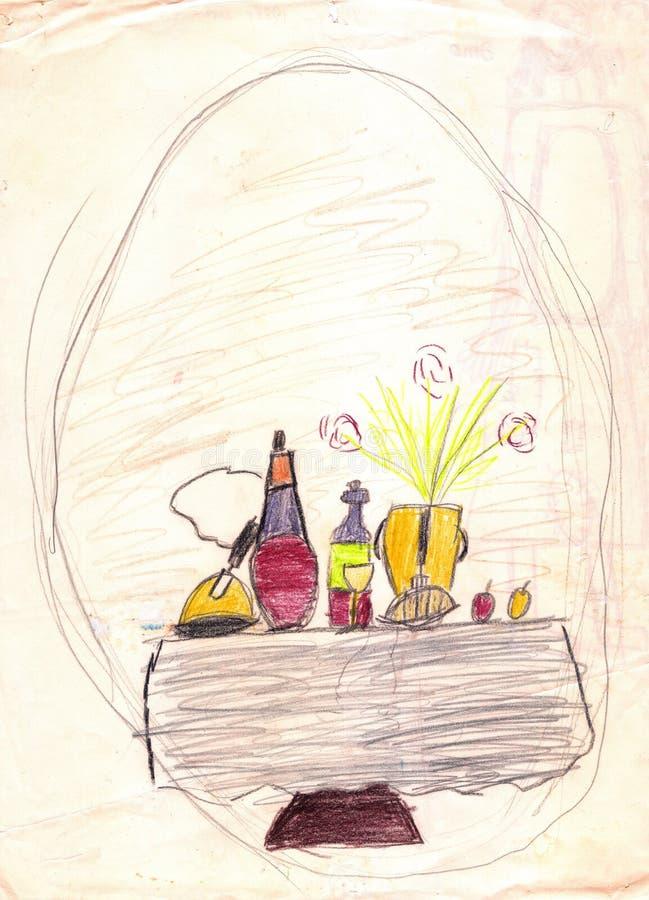 Tabela de jantar com um alimento e bebidas nele Desenho de um pai e de um filho ilustração stock