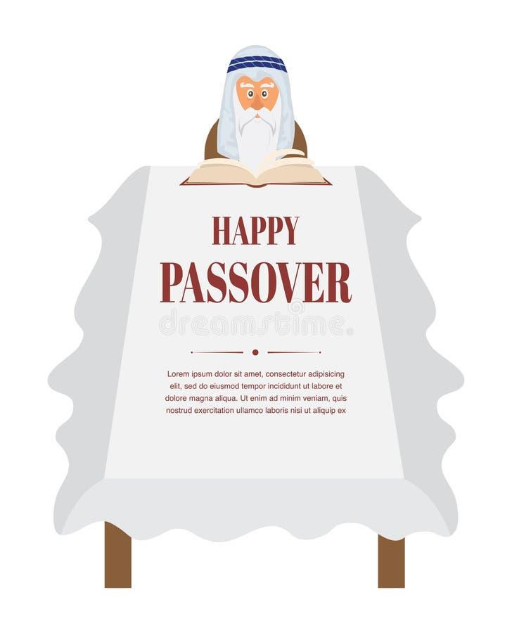 Tabela de jantar da páscoa judaica Hagadá da leitura de Moses ilustração do vetor