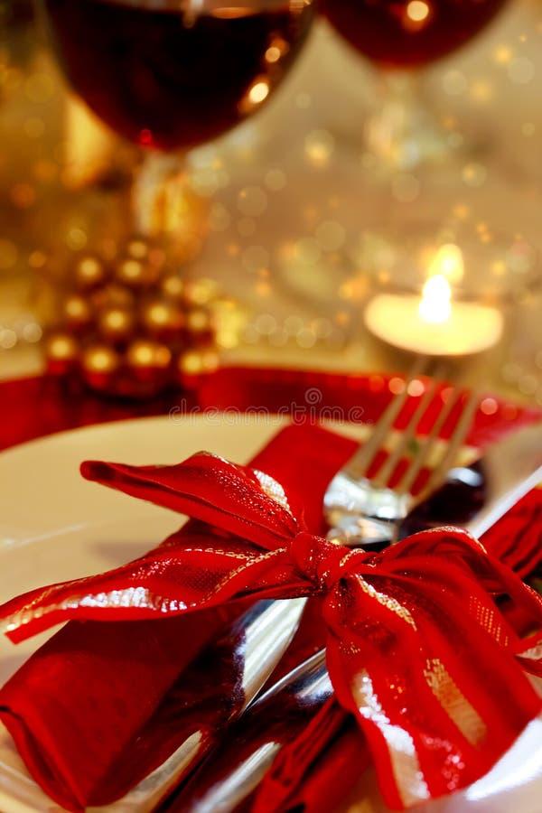 Tabela de jantar decorada do Natal fotografia de stock