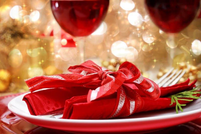 Tabela de jantar decorada do Natal imagens de stock