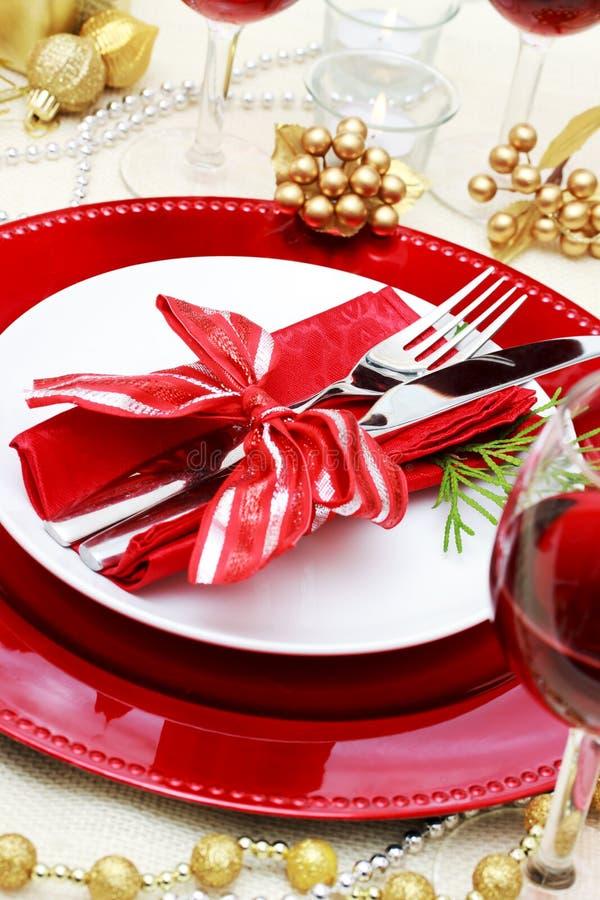 Tabela de jantar decorada do Natal fotografia de stock royalty free
