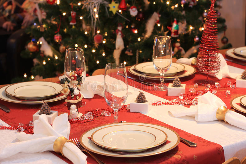 Tabela de jantar do Natal foto de stock royalty free