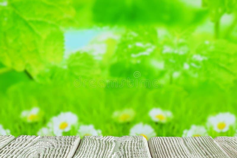 Tabela de madeira branca com espaço vazio no fundo da natureza ilustração stock