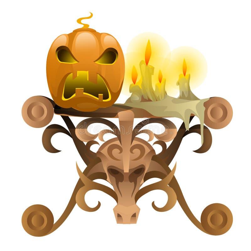 Tabela de madeira com atributos para Dia das Bruxas ilustração stock