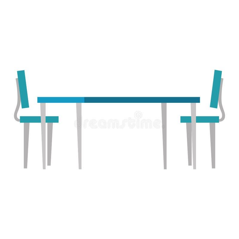 Tabela de madeira com cadeiras ilustração royalty free