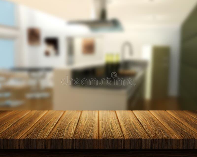 Tabela de madeira com a cozinha no fundo ilustração stock
