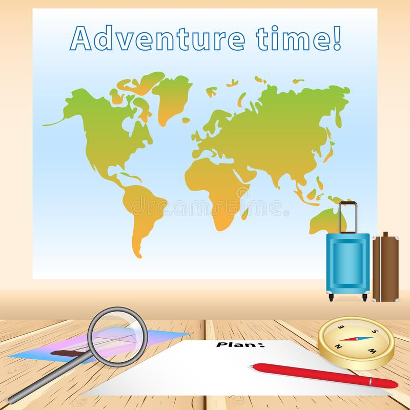 Tabela de madeira com a folha de papel vazia para planejar a viagem, pena vermelha, p ilustração do vetor