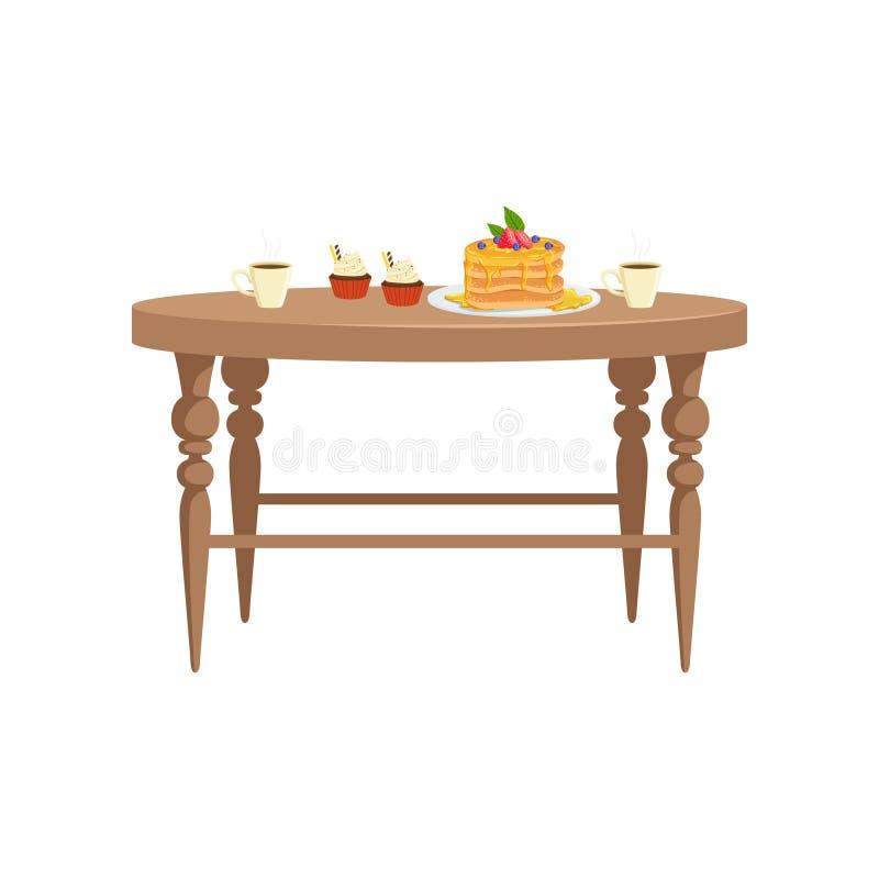 Tabela de madeira com os dois copos do chá, dos queques e da pilha de panquecas com bagas em uma placa, alimento para o vetor do  ilustração royalty free