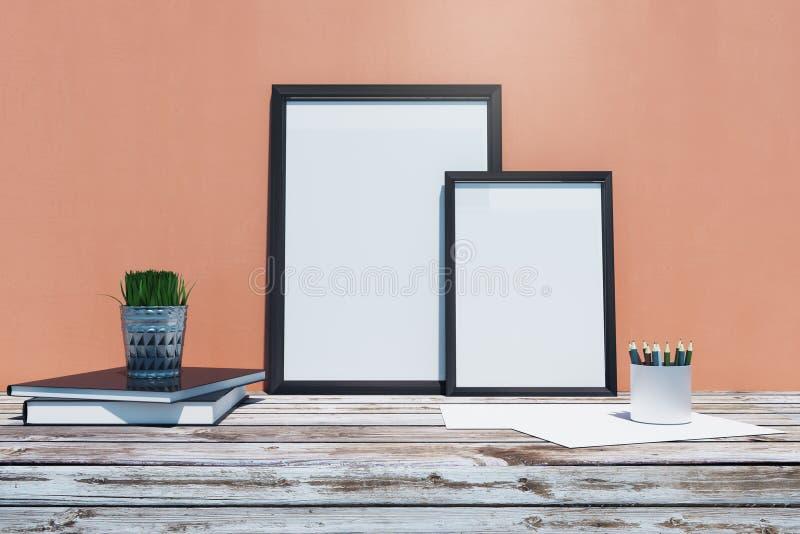 Tabela de madeira com quadro vazio ilustração do vetor