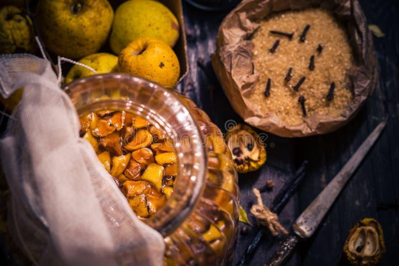 Tabela de madeira da baunilha dos cravos-da-índia do açúcar do marmelo dos galhos dos frutos das tinturas dos ingredientes fotografia de stock