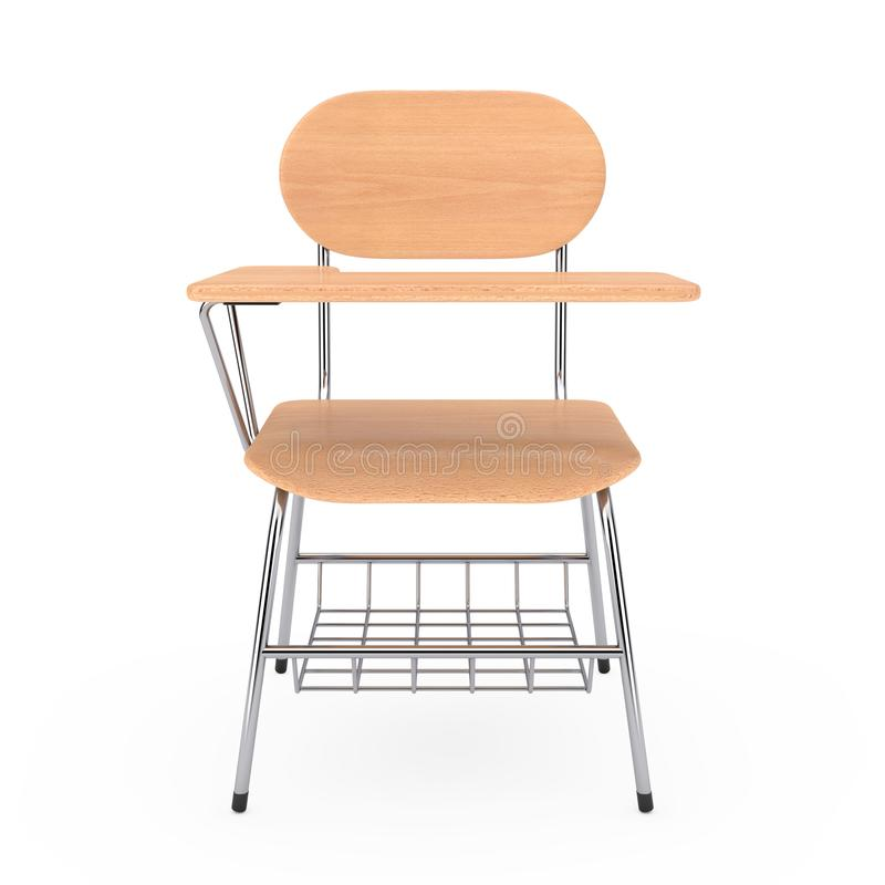 Tabela de madeira da mesa da escola ou da faculdade da leitura com cadeira rende 3D ilustração do vetor