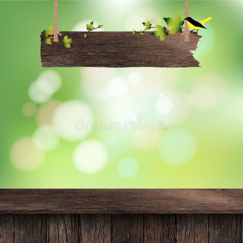 Tabela de madeira da plataforma do vetor ilustração do vetor