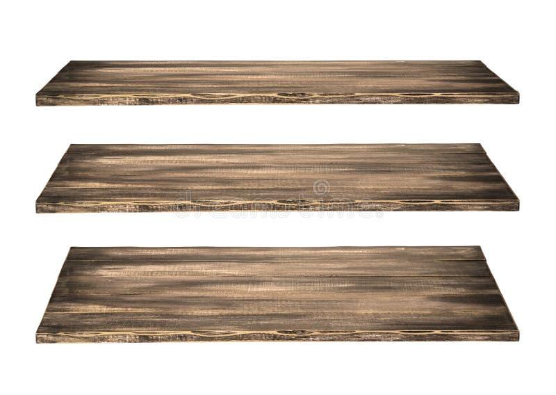 Tabela de madeira de 3 prateleiras imagem de stock