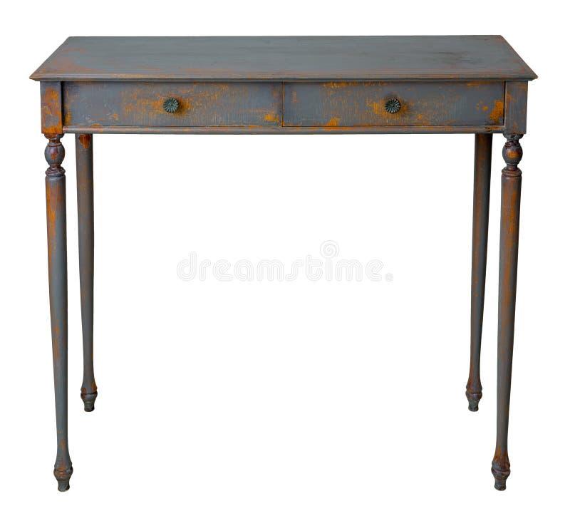 Tabela de madeira do vintage do vintage com as duas gavetas pintadas em cinzento e na laranja, isolados no fundo branco que inclu imagens de stock royalty free