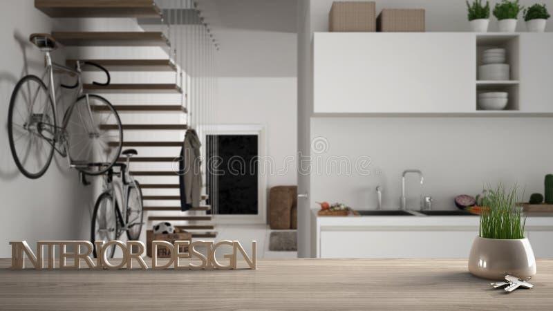 A tabela de madeira, a mesa ou a prateleira com a planta em pasta da grama, as chaves da casa e 3D rotulam a fatura do design de  ilustração do vetor