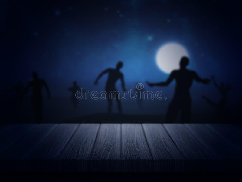Tabela de madeira que olha para fora a uma paisagem assustador do zombi ilustração stock