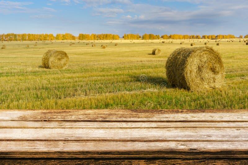 Tabela de madeira vazia com paisagem borrada do outono de pacotes chanfrados do campo e da palha Zombe acima para produtos da exp fotografia de stock royalty free