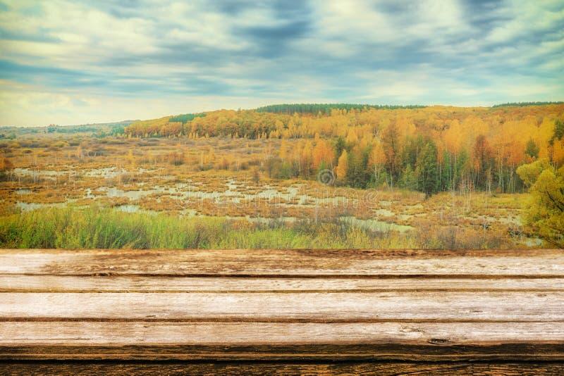 Tabela de madeira vazia com paisagem pitoresca do outono da vista do monte à planície com floresta e pântanos Zombaria acima para imagens de stock royalty free