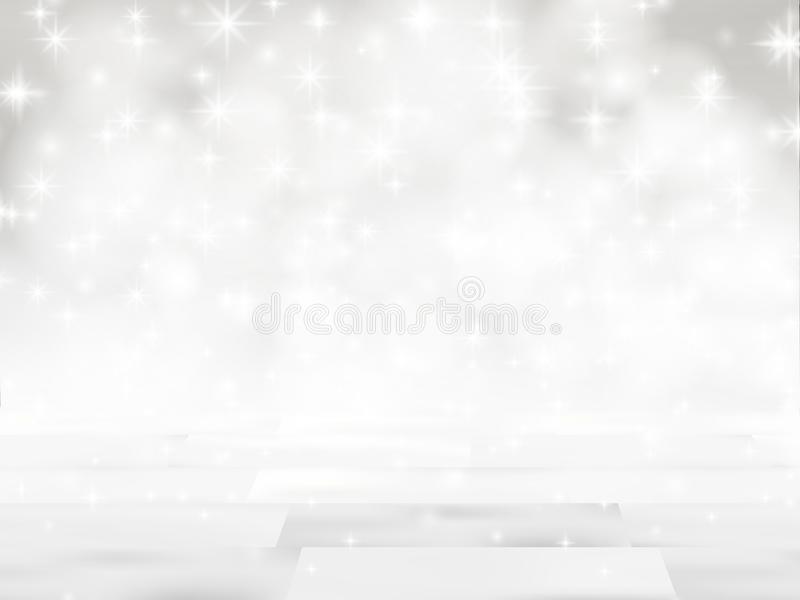 A tabela de madeira vazia na frente do brilho ilumina o fundo contexto de prata borrado De-focalizado Apronte para a zombaria do  ilustração royalty free
